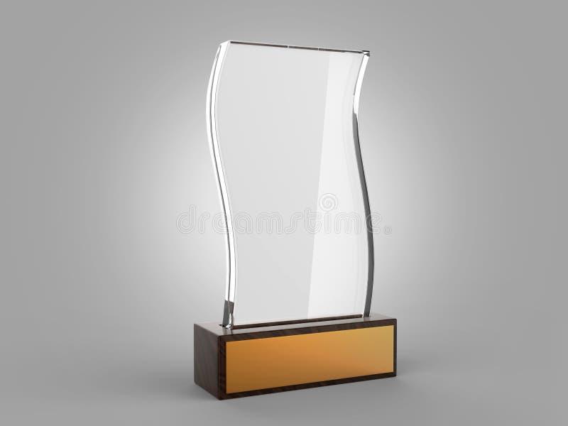 Suporte ascendente da zombaria de vidro vazia do troféu na base de madeira, ilustração da rendição 3d ilustração do vetor