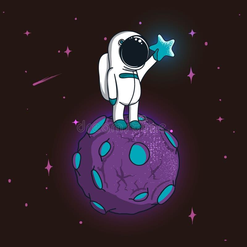 Suporte bonito do astronauta no planeta mágico ilustração stock