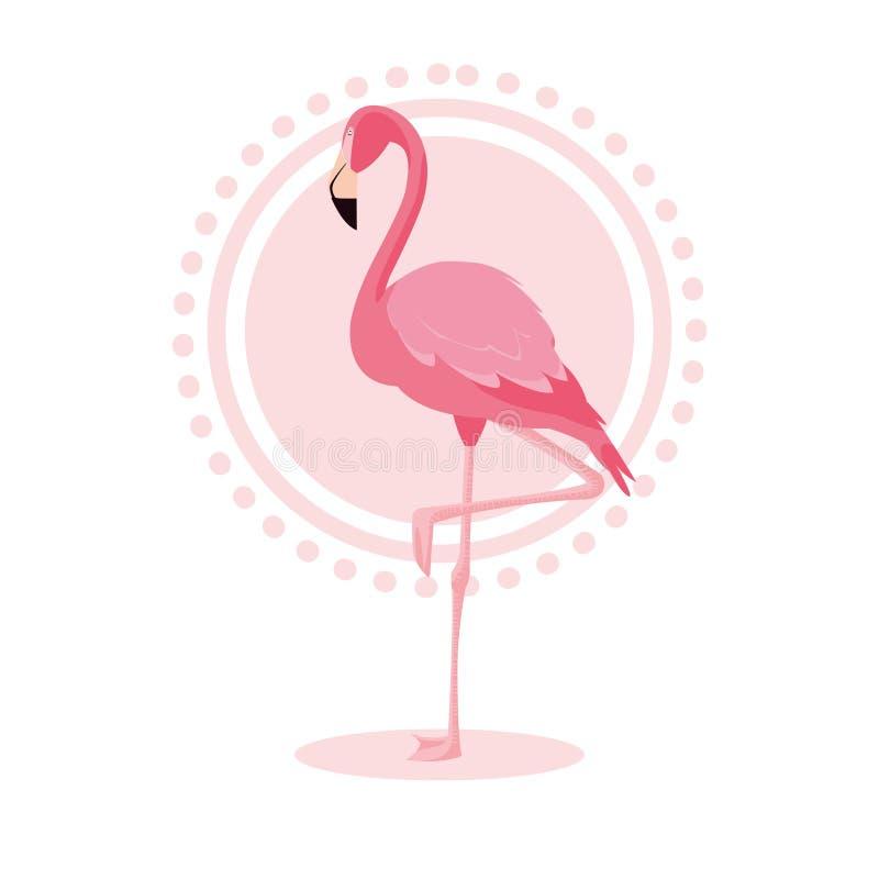 Suporte bonito do pássaro do flamingo ilustração stock