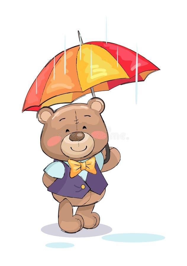 Suporte bonito do Peluche-urso sob o tempo chuvoso do guarda-chuva ilustração stock