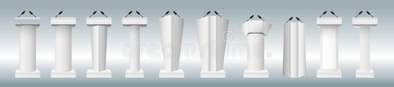 Suporte branco da tribuna da tribuna do pódio do vetor ajustado com os microfones isolados ilustração royalty free