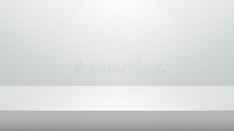 Suporte branco para exibição ou concepção de apresentação em fundo de sala moderna com iluminação Prateleira vazia e imagem de stock royalty free