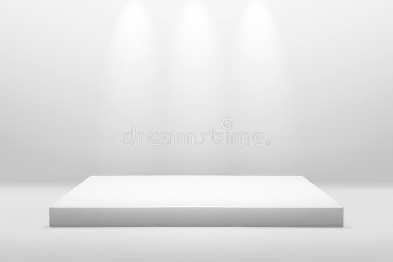 Suporte branco para exibição ou concepção de apresentação em fundo de sala moderna com iluminação Prateleira vazia e fotografia de stock royalty free