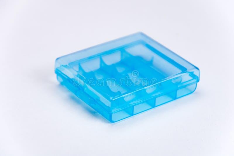 Suporte da bateria plástico azul imagem de stock royalty free