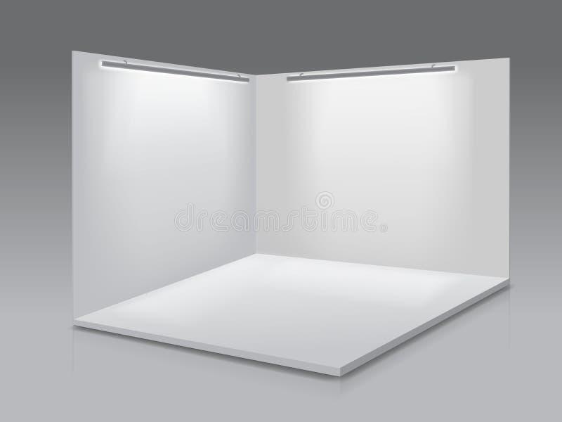 Suporte da exposi??o da exposi??o vazia Painéis vazios brancos, pódio para apresentações no fundo cinzento 3d ilustração stock