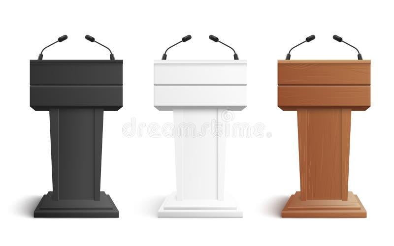 Suporte da fase ou tribuna do pódio do debate com a ilustração do vetor dos microfones isolada no branco ilustração royalty free