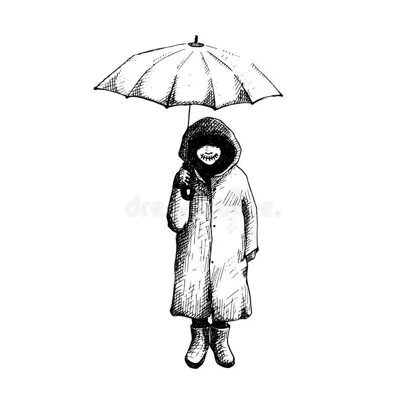 Suporte da menina apenas na chuva com guarda-chuva Ilustração do vetor ilustração royalty free