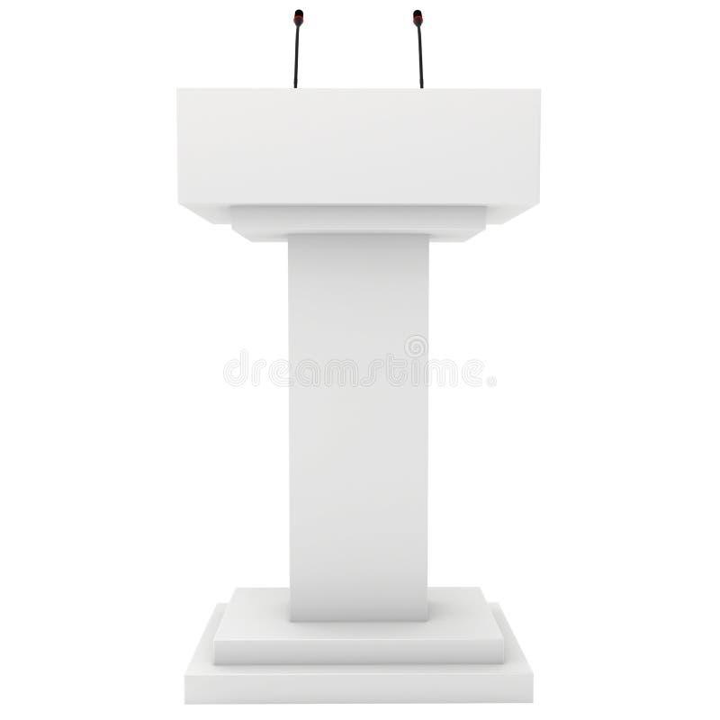 Suporte da tribuna da tribuna do pódio do orador com microfones 3d rendem isolado no fundo branco Debate, conferência de imprensa ilustração do vetor