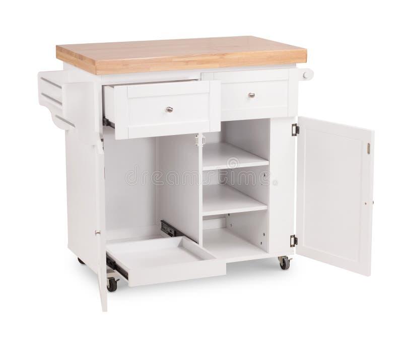 Suporte de madeira da cozinha da cor cinzenta, tabela com uma gaveta Desenhista moderno, armário de cozinha isolado no fundo bran imagem de stock royalty free