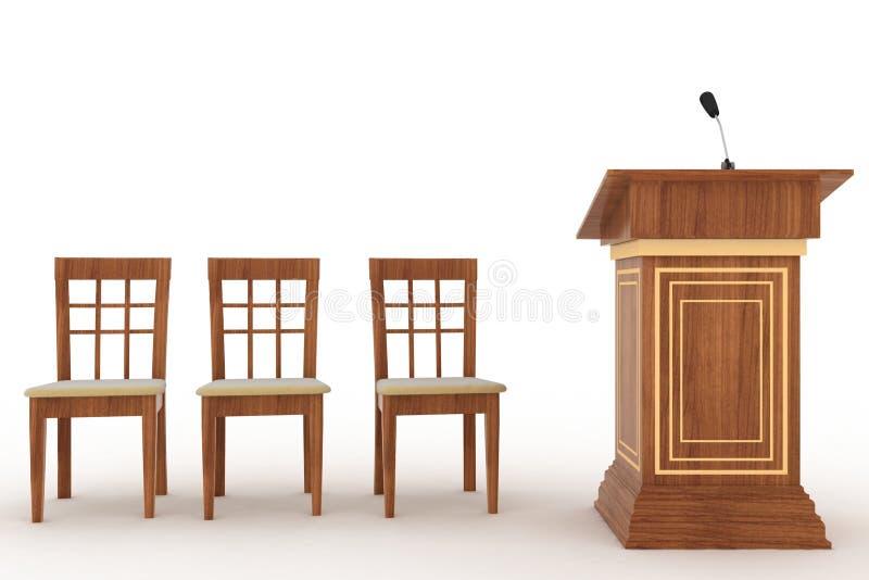 Suporte de madeira da tribuna com microfone e três cadeiras ilustração do vetor