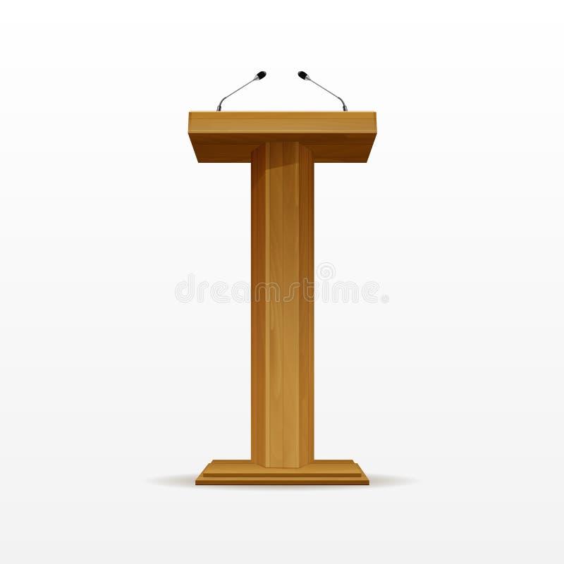 Suporte de madeira da tribuna da tribuna do pódio com microfones ilustração stock