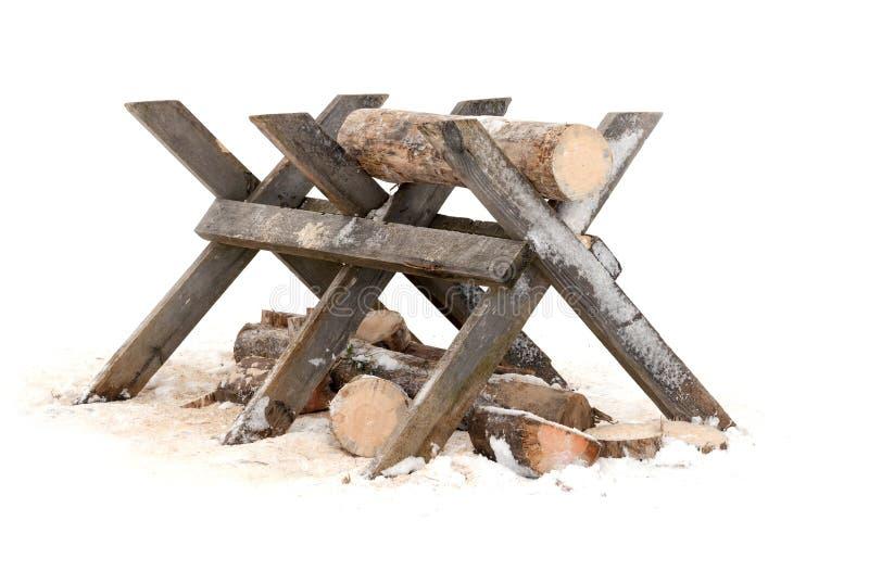 Suporte de madeira do início de uma sessão do Sawing fotos de stock royalty free
