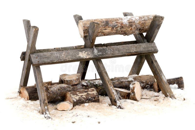 Suporte de madeira do início de uma sessão do Sawing imagens de stock royalty free