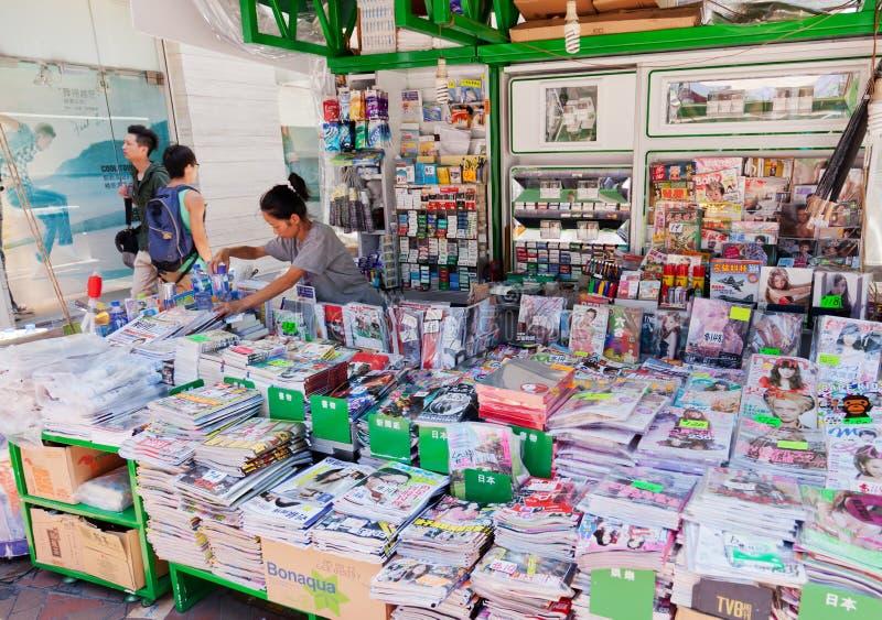 Suporte de notícia em Hong Kong foto de stock