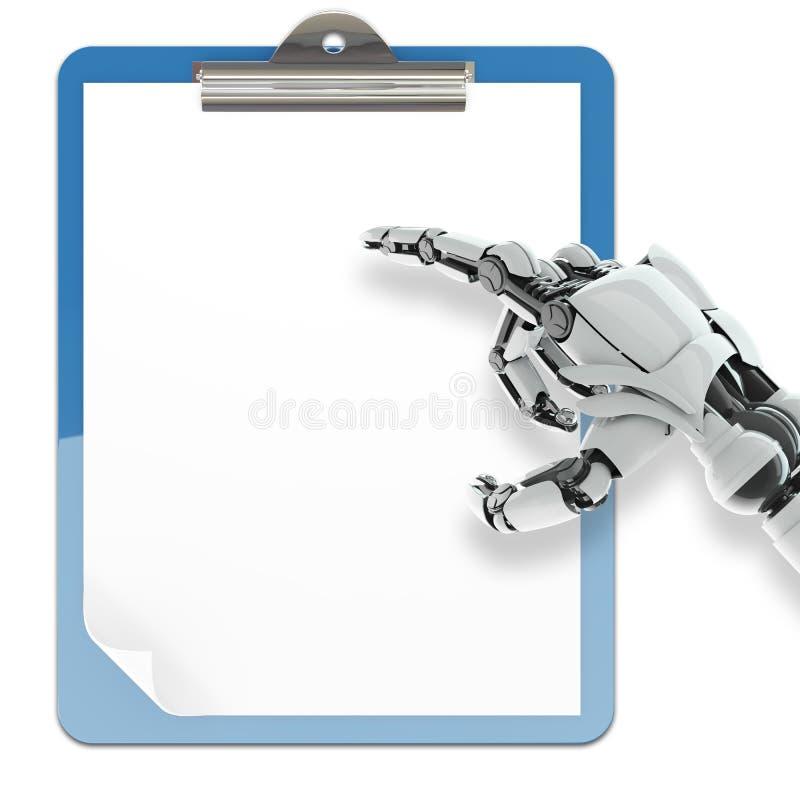 Suporte de papel da almofada e braço robótico imagens de stock