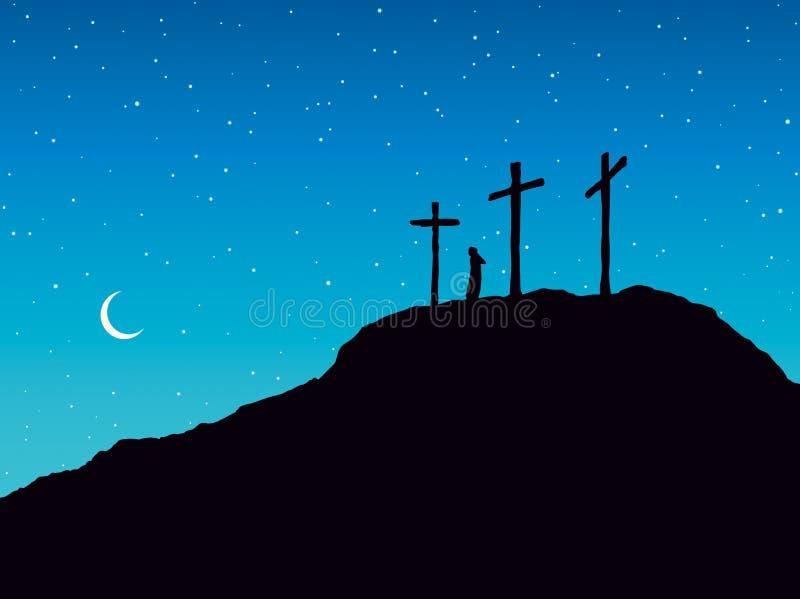 Suporte de três cruzes no contexto claro do céu ilustração royalty free