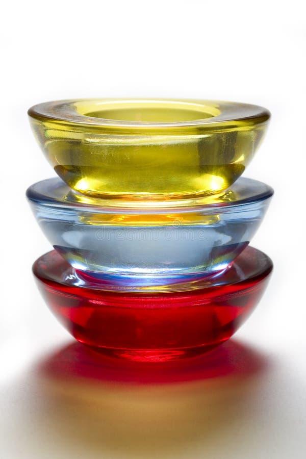 Suporte de vela colorido da luz do chá fotos de stock royalty free