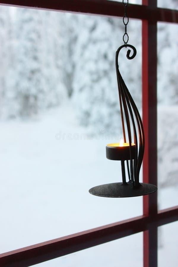 Suporte de vela decorativo no indicador imagem de stock