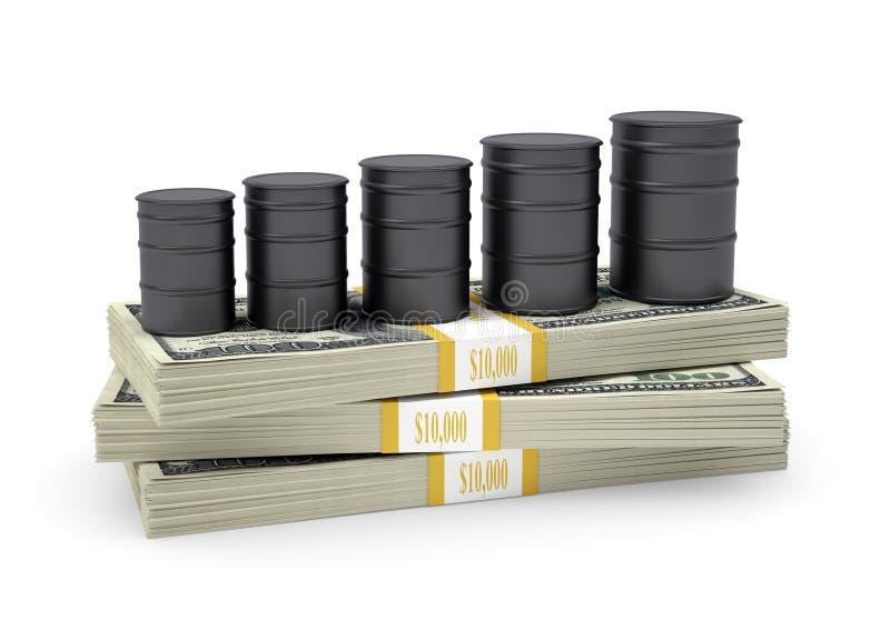 Suporte do óleo dos tambores no bloco dos dólares ilustração do vetor