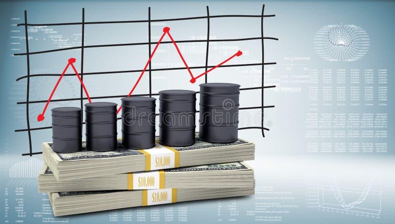 Suporte do óleo dos tambores no bloco dos dólares ilustração stock