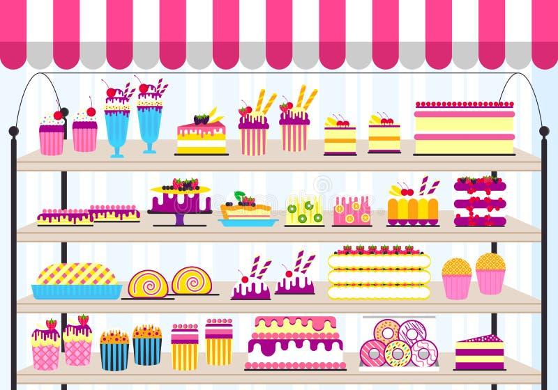 Suporte do bolo na ilustração da loja Doce do vetor para o fundo do partido O ícone do alimento ajustou-se no feliz aniversario o ilustração royalty free