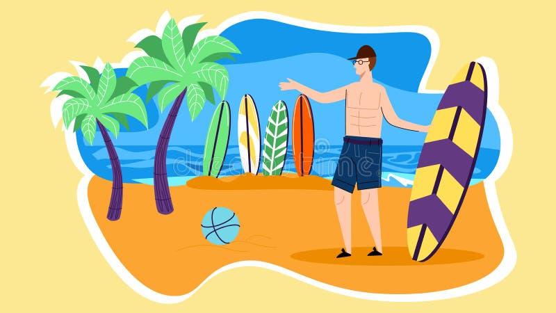 Suporte do caráter do homem novo na praia com placa de ressaca ilustração do vetor