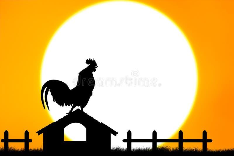 Suporte do corvo dos galos no housetop fotos de stock
