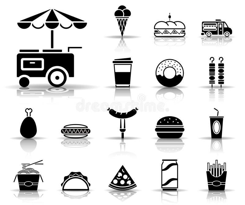 Suporte do fast food e do alimento - grupo do ícone ilustração do vetor
