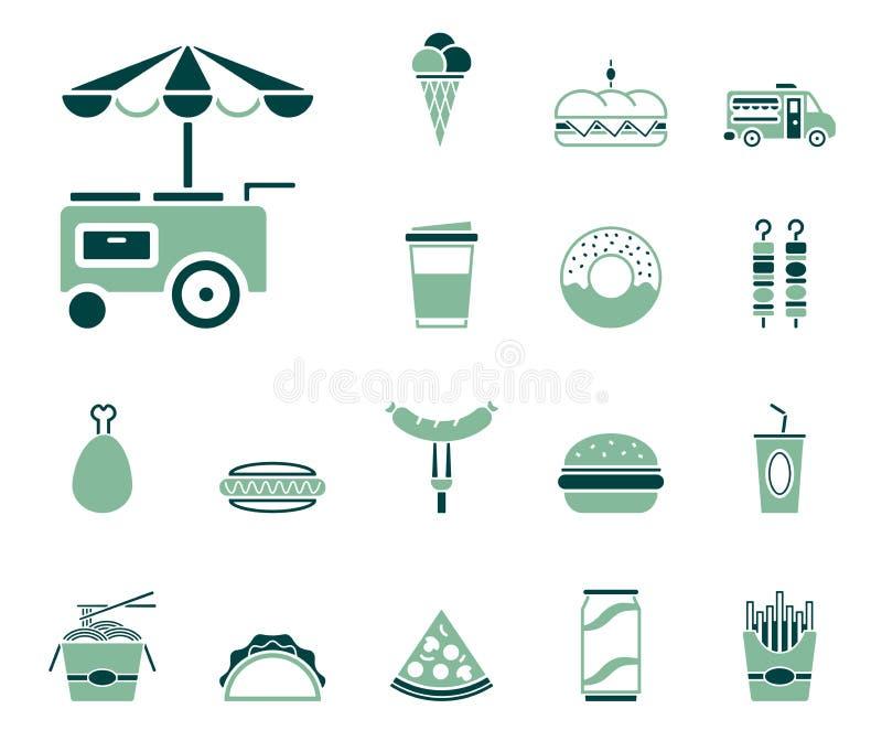 Suporte do fast food e do alimento - grupo do ícone ilustração stock