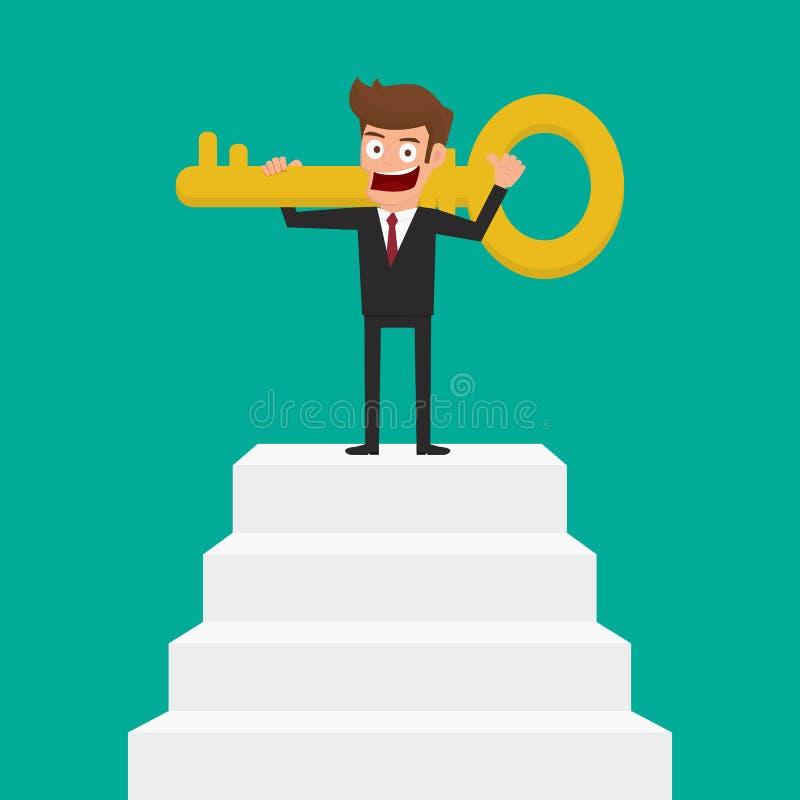 Suporte do homem de negócios na escada e em guardar uma chave dourada ao sucesso ilustração royalty free