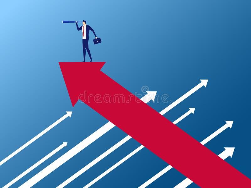 Suporte do homem de negócios no gráfico do crescimento da seta no sentido oposto usando o telescópio que procura o sucesso ilustração royalty free
