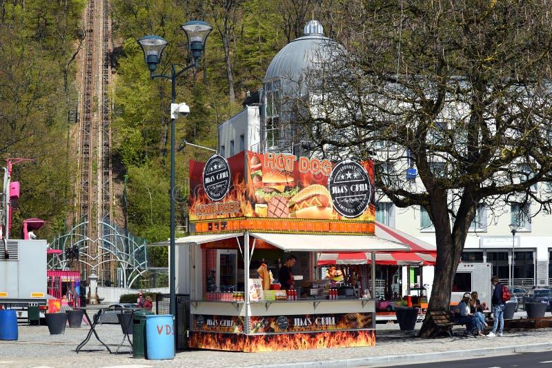 Suporte do Hotdog do fast food fotografia de stock