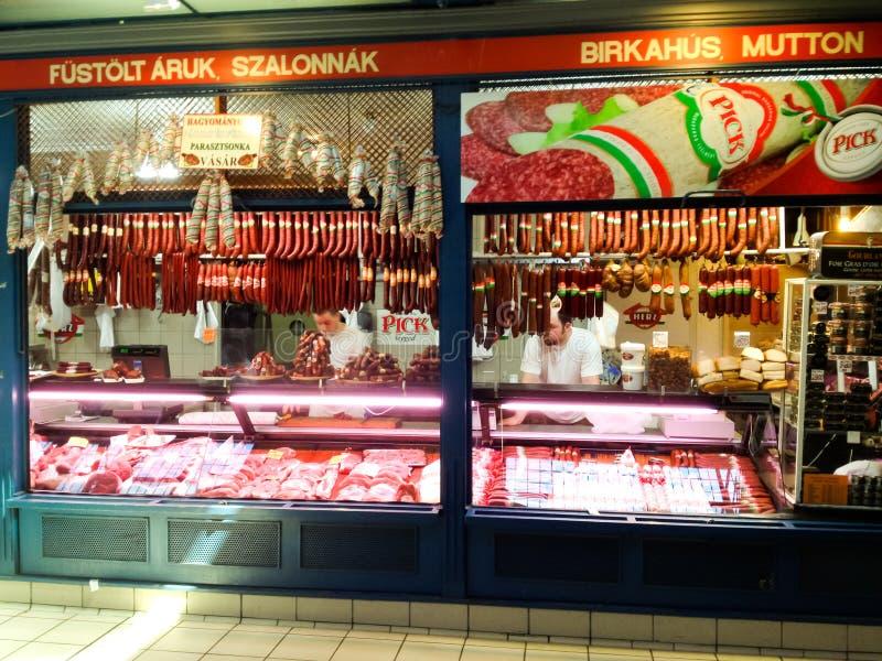 Suporte do mercado de carne imagem de stock