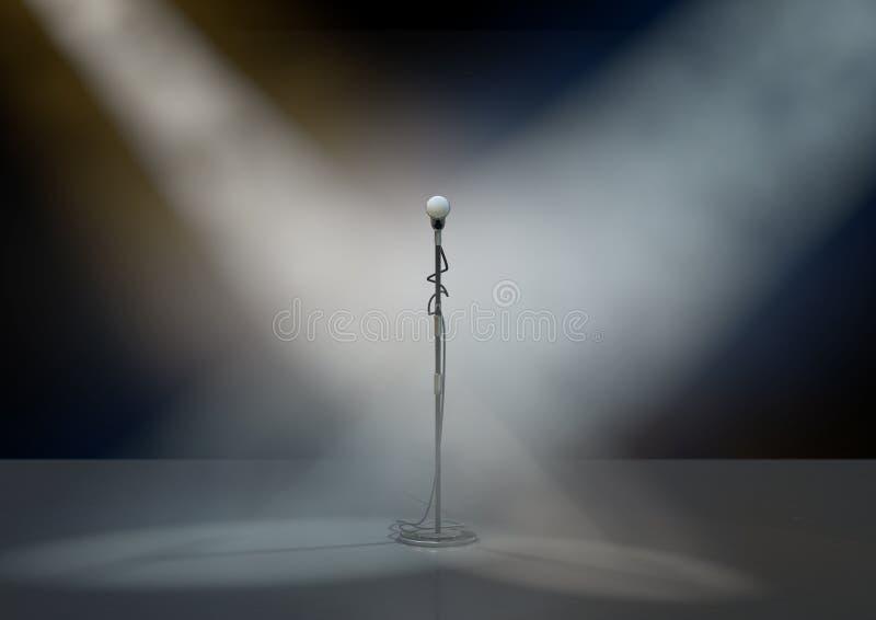Suporte do microfone na fase com projetores ilustração do vetor