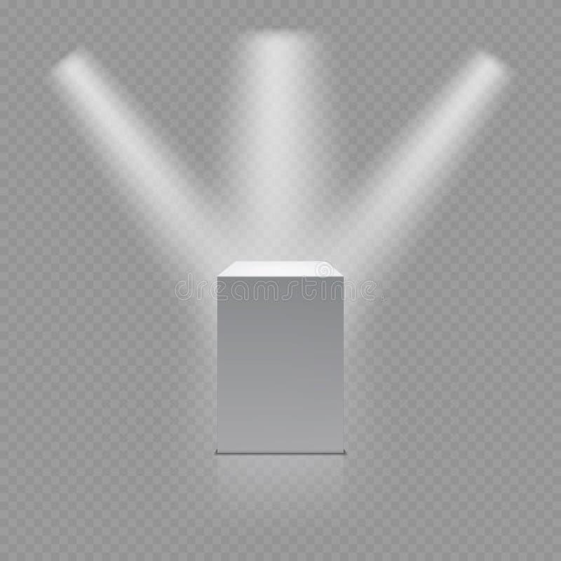 Suporte do museu, pódio 3d vazio branco e projetores ilustração stock
