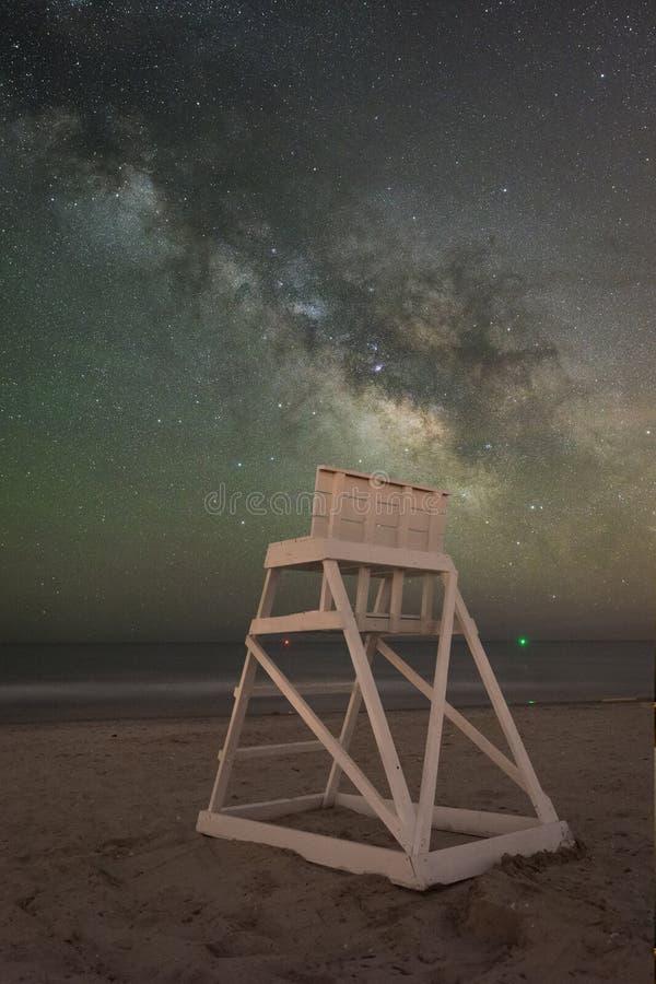 Suporte do protetor de vida sob a galáxia da Via Látea imagem de stock