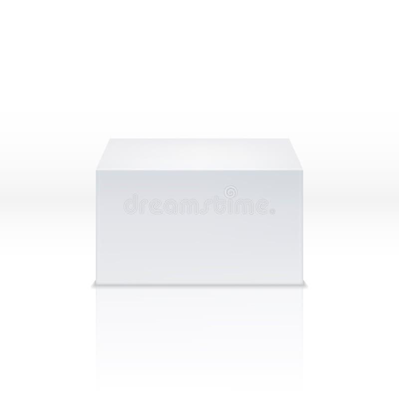 Suporte do quadrado branco, poliedro vazio, 3d caixa vazia, cubo, ilustração do vetor da fase ilustração do vetor