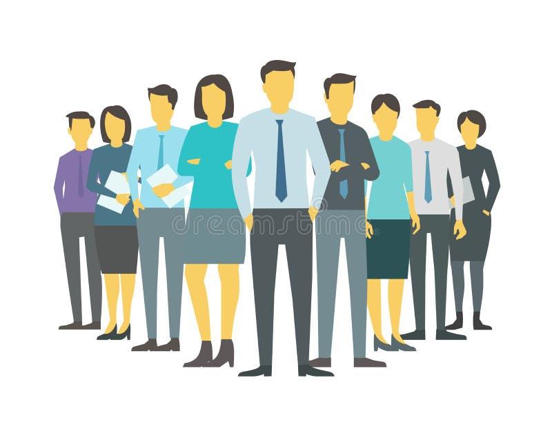 Suporte dos povos da unidade de negócio da empresa da equipe do diretor do chefe do líder de caixeiros de escritório Ilustração c ilustração royalty free