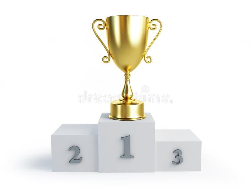 Suporte dos vencedores do copo do troféu do ouro ilustração stock