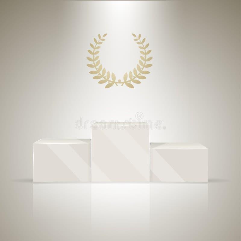 Suporte dos vencedores do esporte com grinalda do louro ilustração royalty free