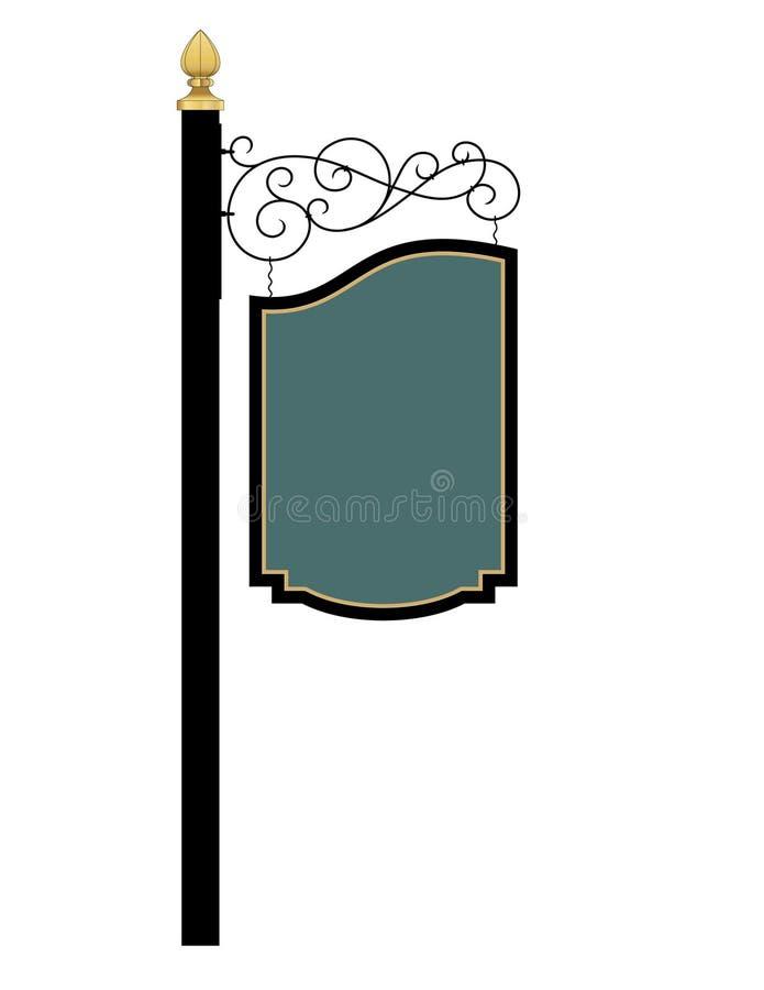Suporte e sinal do ferro forjado ilustração stock