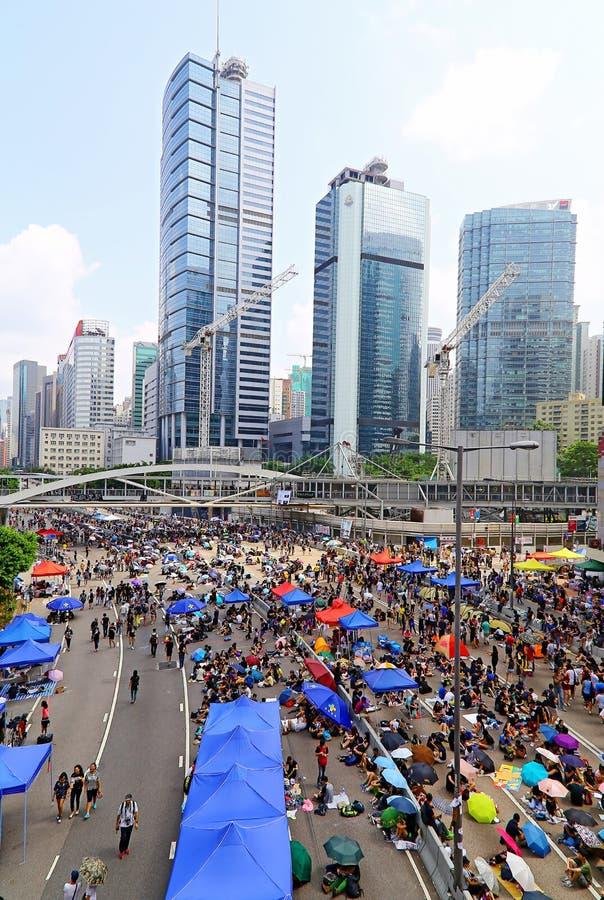 Suporte isolador em admiralty, Hong Kong dos protestadores fotos de stock royalty free
