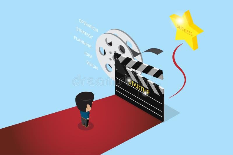 Suporte isométrico do homem de negócios no tapete vermelho com ardósia grande e a estrela dourada, partida ilustração stock