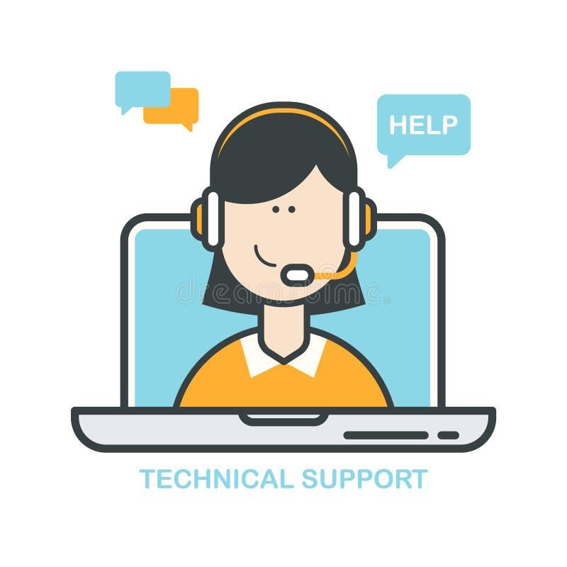 Suporte laboral Agente da ajuda online Centro de atendimento do apoio ao cliente, operador fêmea da linha de apoio ao cliente, as ilustração royalty free