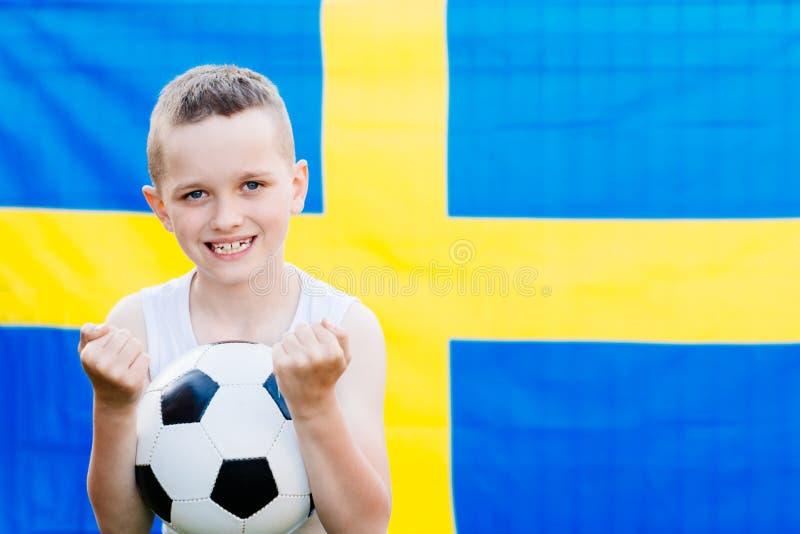 Suporte nacional da equipa de futebol da Suécia fotografia de stock royalty free