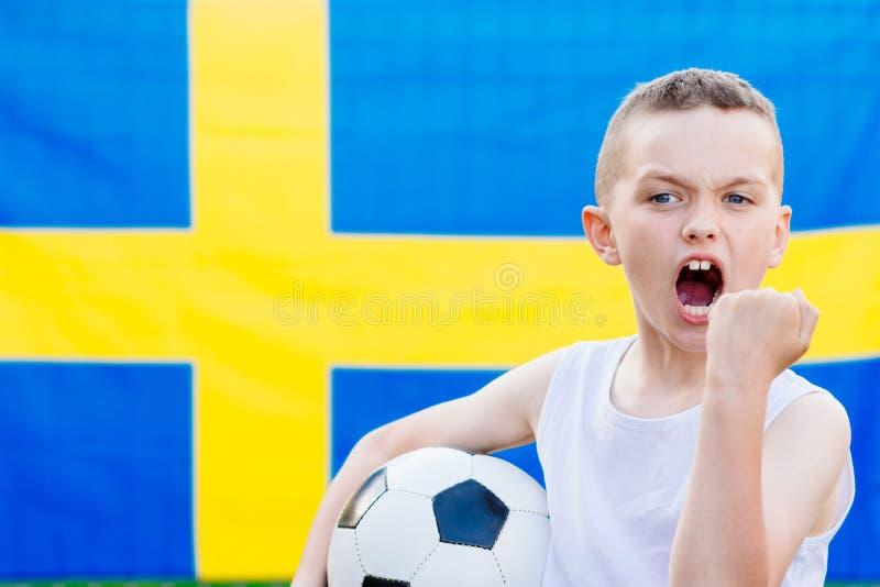 Suporte nacional da equipa de futebol da Suécia foto de stock