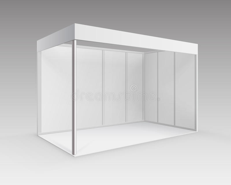 Suporte padrão da cabine de comércio interna vazia branca da exposição para a apresentação na perspectiva no fundo ilustração royalty free