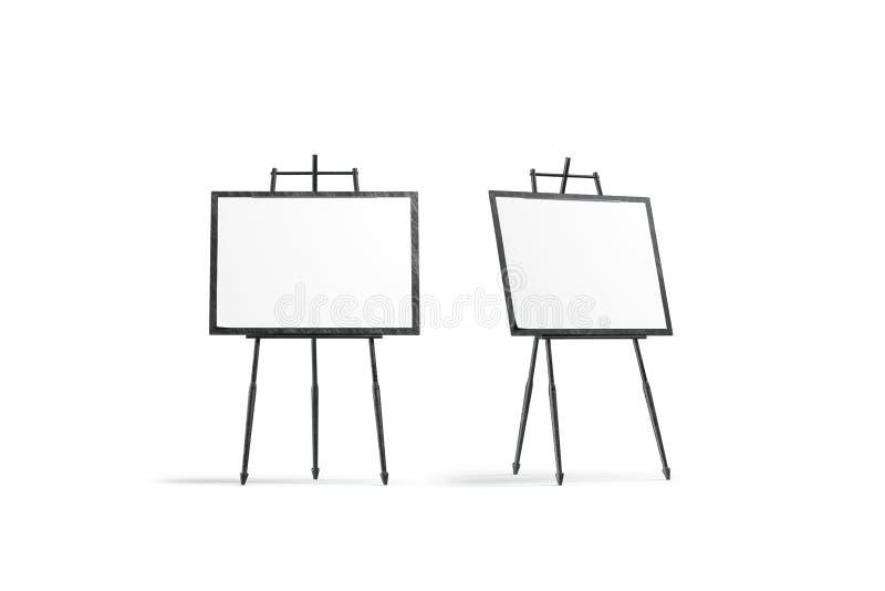 Suporte quadrado branco da lona da placa no grupo do modelo do tripé ilustração royalty free