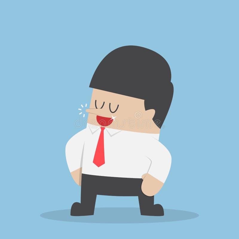 Suporte seguro do homem de negócios com os braços akimbo ilustração royalty free