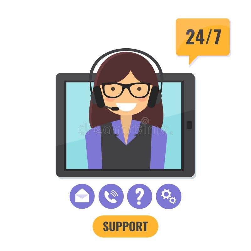 Suporte técnico em linha 24 conceito de 7 serviços ilustração royalty free